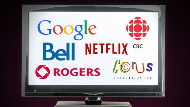 Graphic showing Google, CBC, Bell, Netflix, Rogers and Corus Entertainment Logos