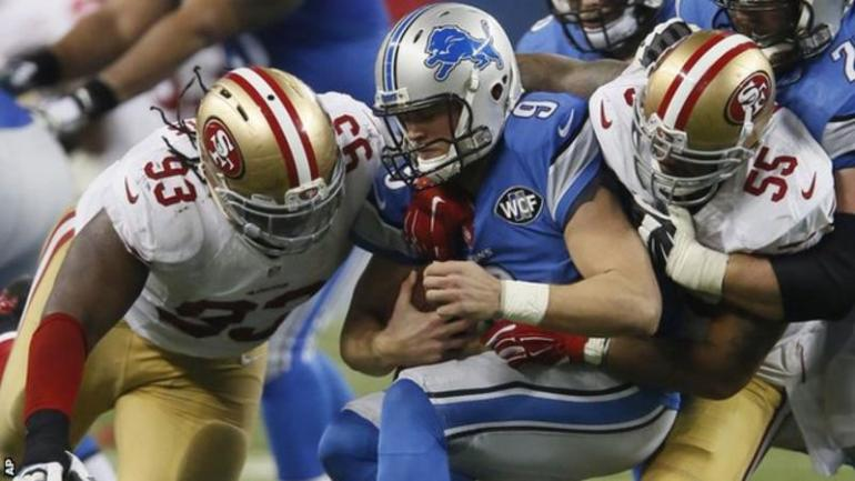 A screenshot of Detroit Lions vs the San Fransisco 49ers