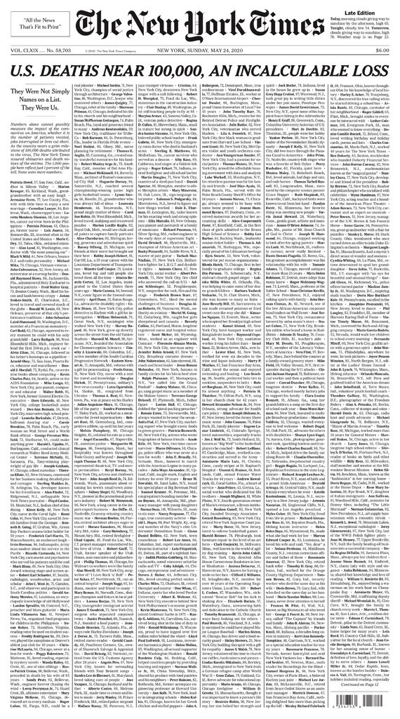 The New York Times front page for May 24 showing the names of 100,000 COVID-19 victims to date