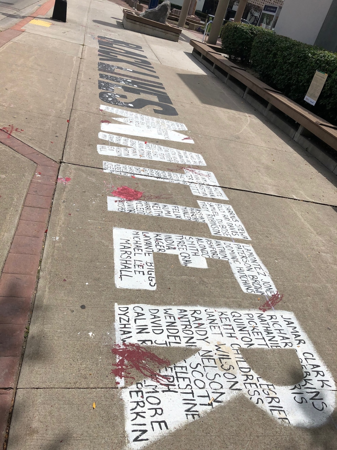 The Black Lives Matter Sidewalk Mural in Burlington ON