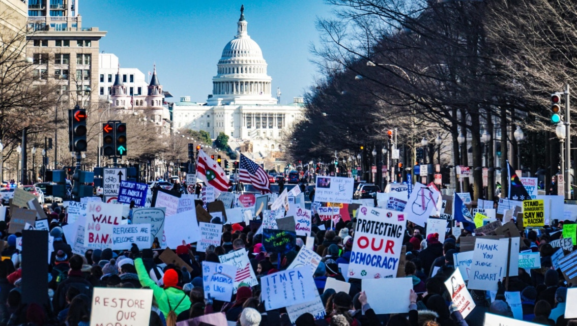 A pro democracy crowd in Washington D.C.