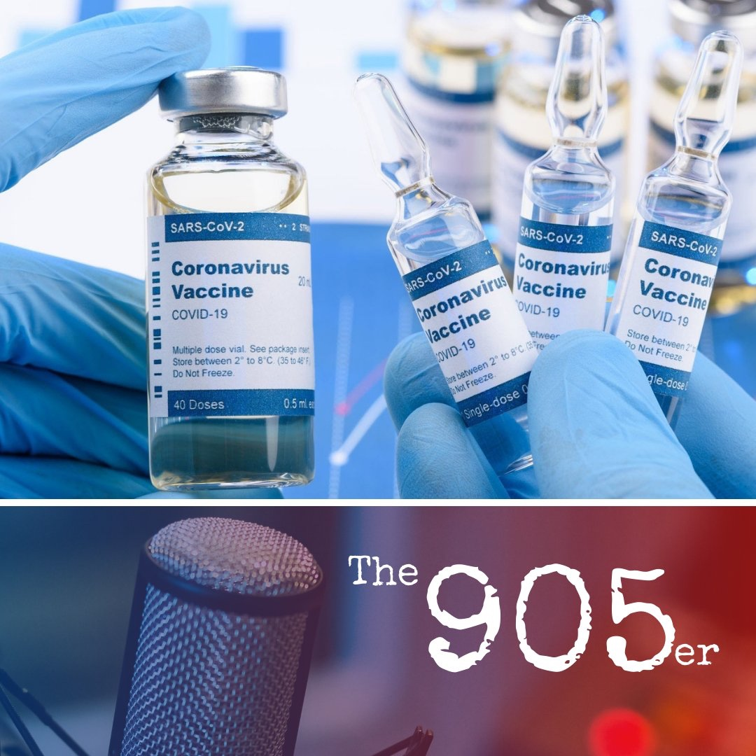 The 905er logo over top of a stock COVID-19 Vaccine photo
