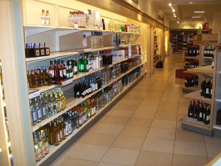 Aisles of an liquor store